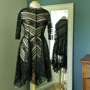 Illusion asymmetric raw lace cocktail dress